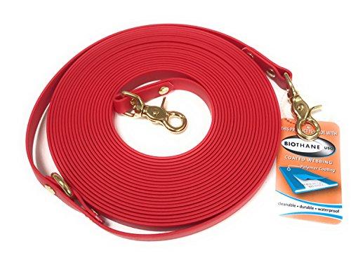 Viva Nature Biothane 26 Farben 16mm rostfrei Longe Langzügel oder Schleppleine Nachsuche, rostfreie Karabiner, für Hunde und Pferde bis 900kg (3m, rot)