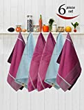 #10: Avira Home Royal Classic Large Kitchen Towels With Hanging Loop, Pack Of 6, (Multicolor)