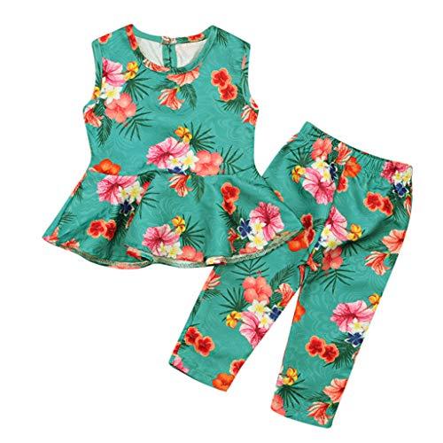 DIASTR 2 Stücke Baby Mädchen Kinder Kleid Kleidung Sommerkleid Casual Set Sommer Outfits Blumendruck Ärmellose Weste Rock Tops + Hosen Outfits Set Grün(12m-5y) -