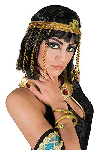 Fancy Ole - Kleopatra Antike Kostüm Set- Haarreif + Schlangenkette Armreif Schmuck Orient Cleopatra goldglänzend, Gold (Griechenland Kostüm Für Männer)