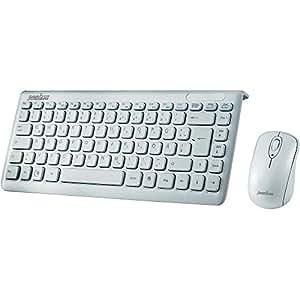 Perixx PERIDUO-707W PLUS DE, Funk Mini Tastatur und Maus Set - 320x141x25mm - 2.4G - Bis zu 10m Reichweite - Nano USB Empfänger - Klavierlack Weiss - QWERTZ DE Layout