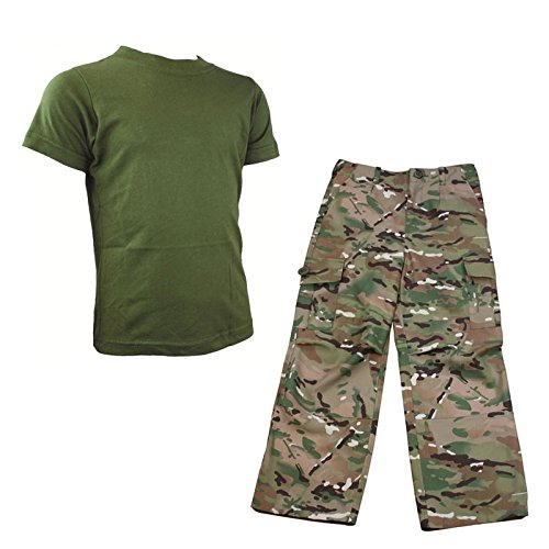 Kids Pack 1 HMTC MTP / MultiCam Match Trousers and Olive Green T-Shirt- Army Camo Fancy Dress Soldier Outfit Test