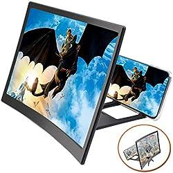 """EZSMART 12"""" incurvée Agrandisseur D'éCran pour Smartphone, HD téléphone projecteur agrandisseur d'écran pour Films, vidéos, Pliable téléphone amplificateur d'écran Loupe d'écran pour téléphones"""