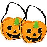 com-four® 2X Halloween Taschen, Kürbis Beutel zum Sammeln von Süßigkeiten zu Halloween, 22 x 18 x 6 cm (2 Stück - Tragetasche Filz)