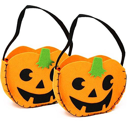 com-four® 2 Halloween Taschen, Kürbis Beutel zum Sammeln von Süßigkeiten zu Halloween, 22 x 18 x 6 cm (2 Stück - Tragetasche (Kürbis Tasche)