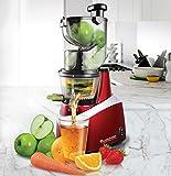 TurboTronic JuiceBar Slow Juicer für ganze Früchte 85 U/min, BPA FREE, 240 Watt starker Motor, arbeitet sehr leise - Entsafter Saft-Presse für Obst und Gemüse Rot