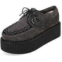 RoseG Femmes Cuir Lacets Plateaforme Gothique Punk Creeper Chaussures Oxfords Noir Taille36 Mihcd5