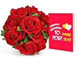 TiedRibbons Birthday Gifts for Friend 24 Faux Red Roses Bunch Bouquet with Greeting Card