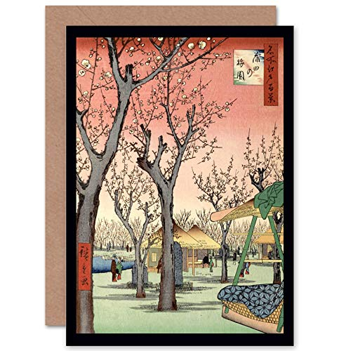 NEW PAINTING JAPANESE WOODBLOCK CHERRY BLOSSOM TREE PARK GREETINGS CARD CP1202