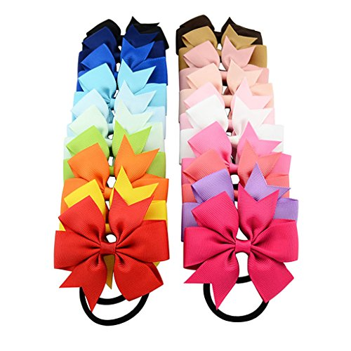 Jiamins - 10 lazos con cintas elásticas para el pelo, diseño de rueda de pino, accesorios para el pelo