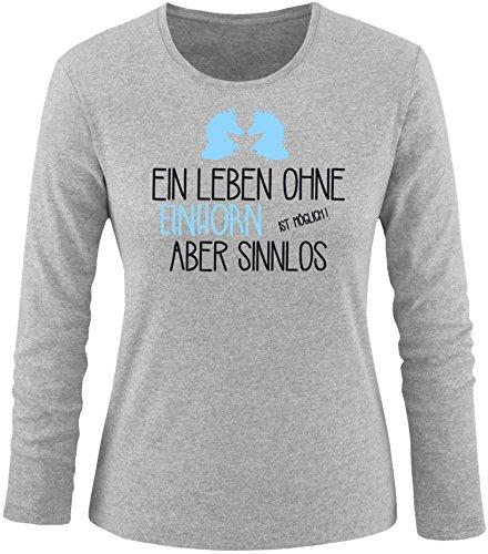 EZYshirt® Ein Leben ohne Einhorn ist möglich ! Aber sinnlos Damen Longsleeve Grau/Schwarz/Hellbl