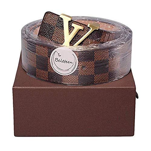 804911b3901614 Fashion Leather Metal brown gold Buckle Unisex Casual Business Belt for  Women Men 120CM
