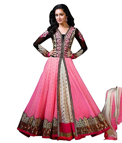 Unique Collection Women\'s Faux Georgette Semi-Stiched Dress Material (MPN4068_pink_Free Size)