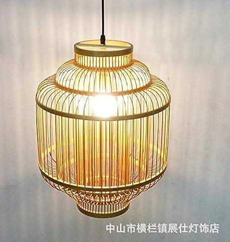 WoO modern New Chinese - style retro bamboo handmade bamboo shade Pendant Lights for Corridor, living room, dining room, study, corridor, warehouse, garden, kitchen, bedroom, exhibition hall, balcony, entrance,350 * 450