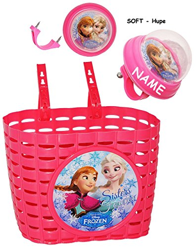 2 tlg. Set _ Fahrradkorb & Fahrradhupe - ' Disney FROZEN - die Eiskönigin ' - incl. Name - SOFT / Fahrradklingel - Befestigung für Lenker...