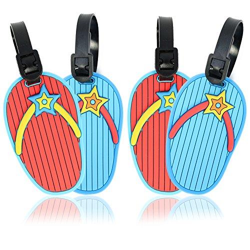 com-four® 4 Kofferanhänger im Sandalen Design, Gepäckanhänger zum beschriften in rot und blau (04 Stück - Sandalen Design) - Sandale Gepäck