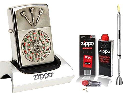 Zippo Feuerzeug Dartboard Emblem + Zubehör L & Stabfeuerzeug Chrome Brushed