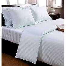 Homescapes Funda de almohada Confort con rayas de satén 80 x 80 cm de color Azul en 100% algodon egipcio con una densidad de 130 hilos/cm²