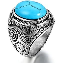 OIDEA Anillo Hombre Acero Inoxidable para Hombre Mujer Unisex Piedra de Turquesa Artificial Joyería Regalo San Valentín Compromiso Boda, Azul Plata