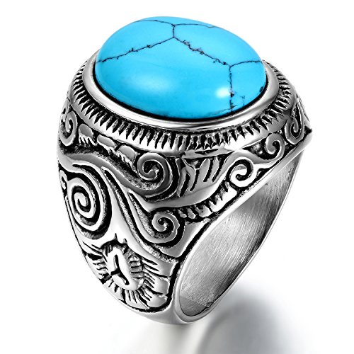 OIDEA Edelstahl Ringe Silber für Herren Damen, Klassiker Retro Charm Künstlicher Türkis Steine Edelstahlring Herrenring Ringgrößen 57 (18.1)