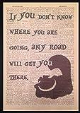 Parksmoonprints Wandbild mit Zitat der Grinsekatze aus Alice im Wunderland (in englischer Sprache), Druck auf Wörterbuchseite