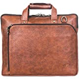 Brivido Vegan Leather Laptop Briefcase (Tan Brown, For Up To 14 Inches Laptop)