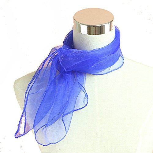Outstanding® Dame Girl Candy Farbe Chiffon Schal weichen kleinen Hals Kopf Schal Kinder Performance Tanz kleinen Platz Schal (70 x 70cm) Blau