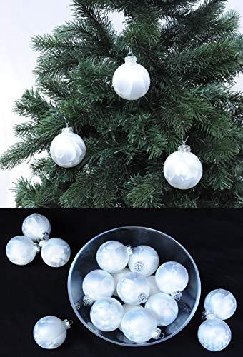 Thüringer Glas Eislack Christbaumkugeln Weiß Weihnachtskugeln 4 5 6 7 8 cm, Größe:Ø 5 cm (14 Kugeln)