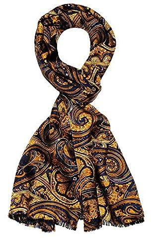 LORENZO CANA - Luxus Schal Wendeschal harmonische Farben - Vorderseite bedruckte Seide - Rückseite gewebte Wolle - 30 x 160 cm