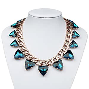 Bestime Womens Fashion Sun Shaped Crystal Egyptian Fashion Necklace Blue