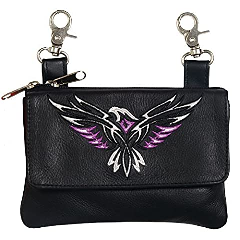 Hot Leathers CPE2006 BLACK, 8X5X1 Black 8 x 5 x 1 Tribal Eagle Embroidered Ladies Clip Pouch Purse by Hot Leathers - Tribal Pouch
