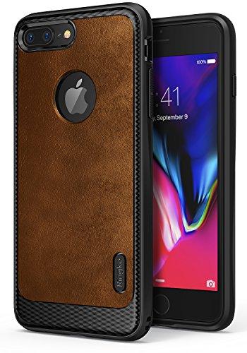 iPhone 7 Plus Hülle, Ringke [Flex S] texturierter Leder Style, flexibles TPU, fortgeschrittene Schock Absorption, doppelt schützende Hülle für das Apple iPhone7 Plus - Braun (Brown) (Orchid Leder Faux)