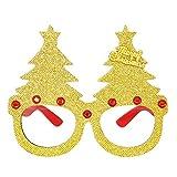 Hffan Weihnachtsgläser Lustige Brille Gläser Schmuck Rot Gold Spielzeug Rentierbrille Weihnachtsbaumgläser Komisch Interessant Brille Aufstellen für Party(F,14.5CM)