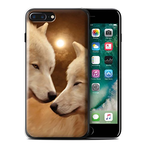 Officiel Elena Dudina Coque / Etui pour Apple iPhone 7 Plus / Endormi/Tigré Chat Design / Les Animaux Collection Loups Blancs
