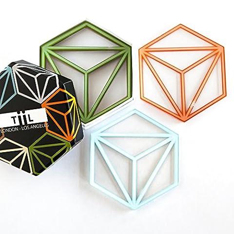 Sechseckige Getränke-Untersetzer von TiiL. Set aus 6 Untersetzern plus Geschenkbox (Prism)