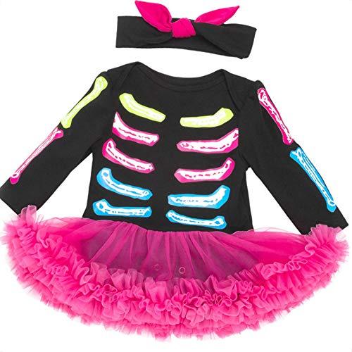 Beaums 2ST Baby-Kleinkind-Skelett Spielanzug-Kleid Langarm-Outfit mit Stirnband