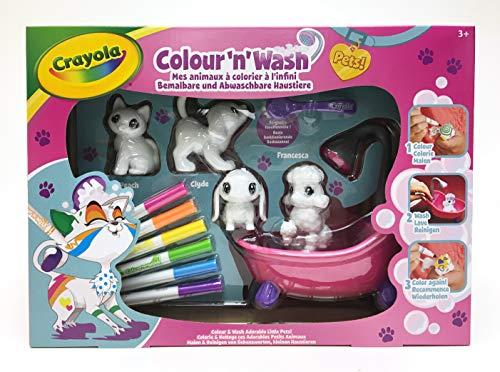 Crayola Colour'N'Wash-Mes Petits Animaux à colorier à l'infini-Gros Coffret-Chat, Chiens et Lapin, 74-7249-F-0031, lavables à l'eau