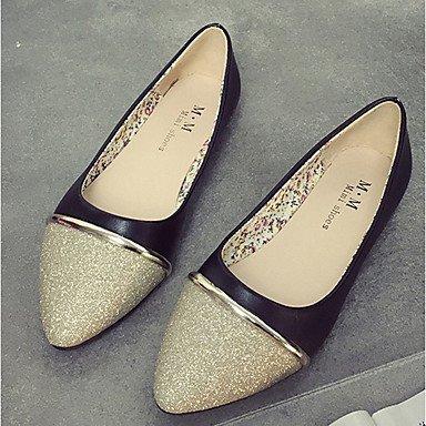 Confortevole ed elegante piatto scarpe donna appartamenti rientrano Comfort PU Casual tacco piatto Split Joint Nero / Bianco / argento altri Silver