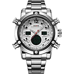 WEIDE Men's Sport Military Analogue Digital Quartz Stainless Steel Watch with Dual Time Auto Date (White)