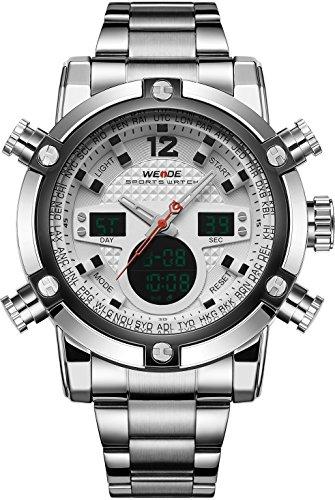 WEIDE Herren Sport Military Analog Digital Quarz Edelstahl Armbanduhr mit Dual Time Auto Datum (weiß)