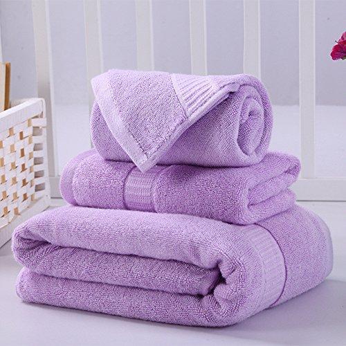 DANCICI Haushaltsprodukte Bambusfaser Handtuch Badetuch regenbogenfarben Reisen mit kleinen Schal set Kombination drei Sätze, Violett Lila