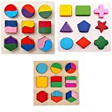 Party Propz Wooden Toys for Toddlers and Kids, Educational Toys (3 Set Geometry)