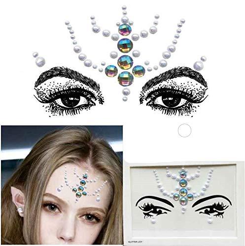 UND KÖRPER EDELSTEIN JUWELEN AUFKLEBER BFG1814 Rainbow mit weißen Perlen ()