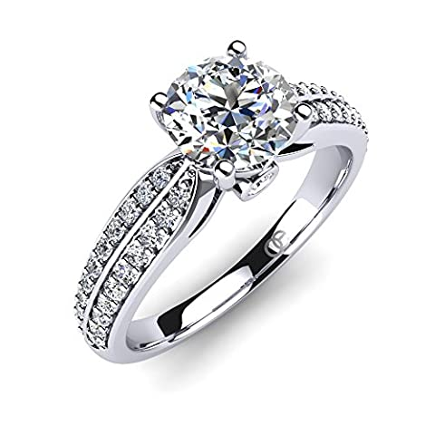 Moncoeur Engagement Ring Promise + Engagement Rings for Women + Wedding Bands for Women Sterling Silver + Wedding Rings Cubic Zirconia + Silver Engagement Rings + Perfect Fit + Luxury Gift Box