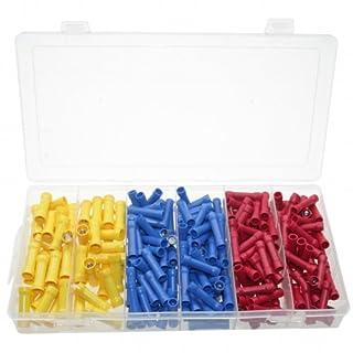 250 x Lötfreie Kabelschuhe/Quetschverbinder / Presskabelschuhe Sortiment TYP STOSSVERBINDER isoliert ROT BLAU GELB 0,5.0-6,0 mm² (im Aufbewahrungsbox/Sortimentsbox)