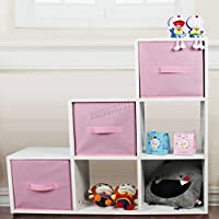FoxHunter 6 Cube Toy Games Storage Display Shelves Bookshelf With 3 Free Woven Drawers 3 Tier Unit Organiser Rack Kids Children Bedroom TSS01 PB White Pink