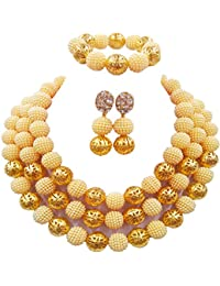 89e3397a63d7 laanc Mujer Mode Oro cubierto 3 filas Nigerian perlas africana boda novia  joyas Sets