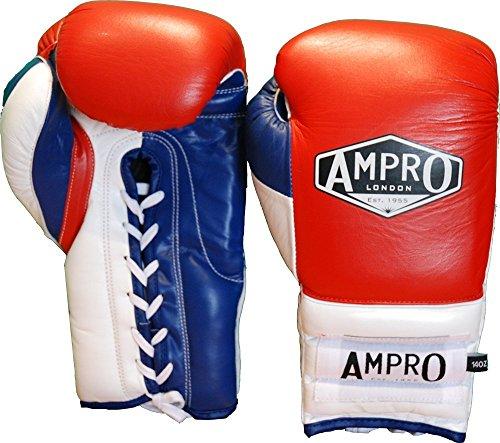 Ampro-Mirage-V2-profesional-guantes-de-boxeo-con-cordones-rojoblancoazul-marino