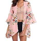 MRULIC Damen Florale Kimono Cardigan Boho Chiffon Sommerkleid Beach Cover up Leicht Tuch für die Sommermonate am Strand Oder See (XL, X-Rosa)