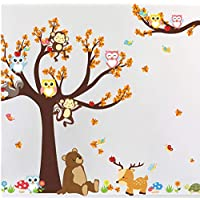 XIAOBAOZIQT Wall Sticker Decal Decals Owl Monkey Decal Cartoon Forest Animal Big Tree Wall Sticker Bedroom Living Room Children
